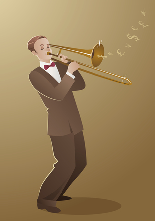 Money Melody. Trombone player playing a song that sounds like money