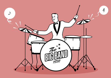 rockabilly: Retro cartoon music. Drummer player playing a song. Musical note