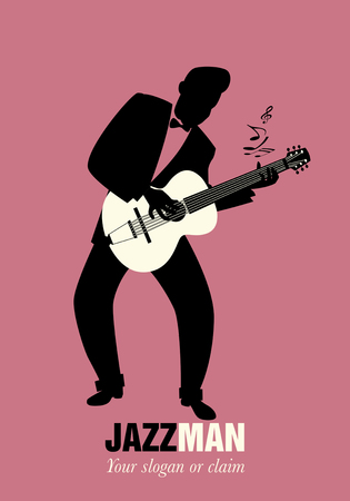 Retro cartoon music. Guitar player playing a song. Musical note
