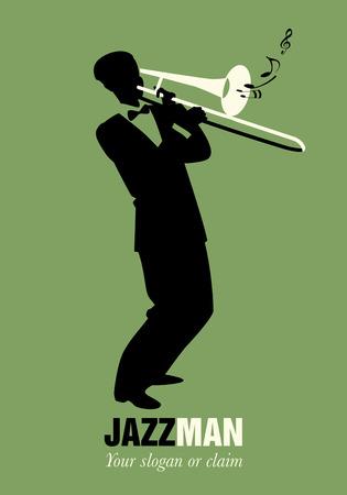 Música retra de la historieta. Trombone jugador tocando una canción. Nota musical Ilustración de vector