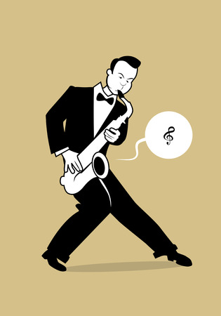 Retro cartoon music. Saxophonist playing a song. Musical note Illustration