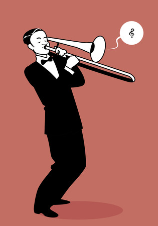 Retro cartoon music. Trombone player playing a song. Musical note