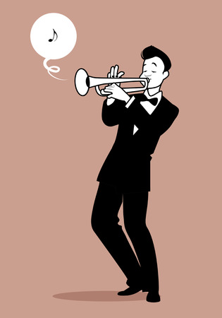 rockabilly: Retro cartoon music. Trumpeter playing a song. Musical note