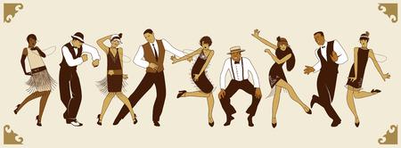 flapper: Partido de Charleston. Grupo de jóvenes bailando charleston