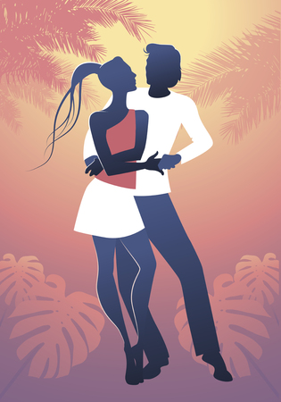 Young couple dancing latin music: bachata, salsa, merengue, samba... Illustration