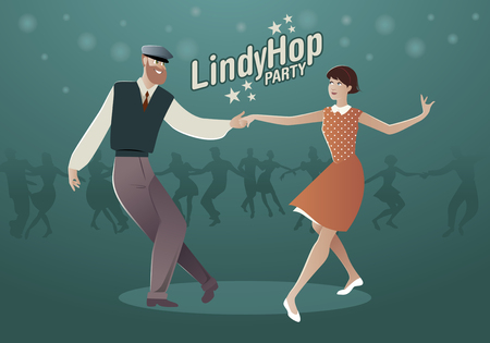 Lindy Hop Party. Young hipster couple dancing swing. Cartoon style Illustration