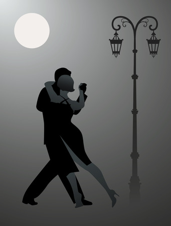 Couple dancing tango under the moon. Vector illustration Çizim