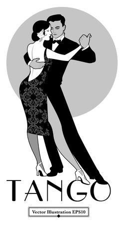 1920s Tango Poster. Elegant couple dancing tango. Retro style Illustration