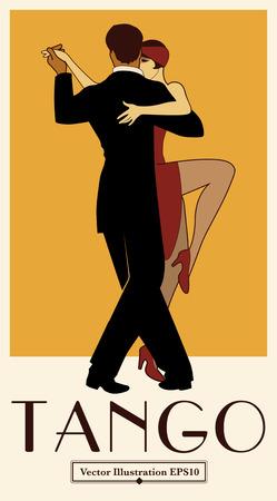 1920s Tango Poster. Elegant couple dancing tango. Retro style Vettoriali