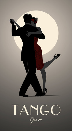 Couple dancing tango under the moon. Vector illustration Ilustracja