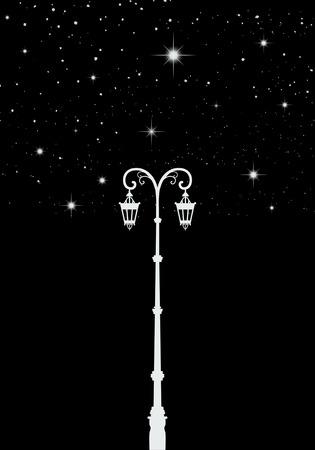 Street light. Lamppost under the stars. Star tree.