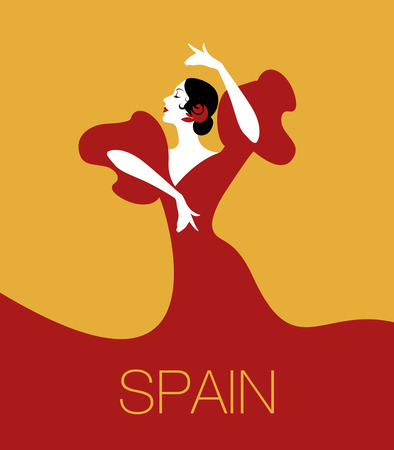 Spaanse flamenco danser. Vectorillustratie Stock Illustratie
