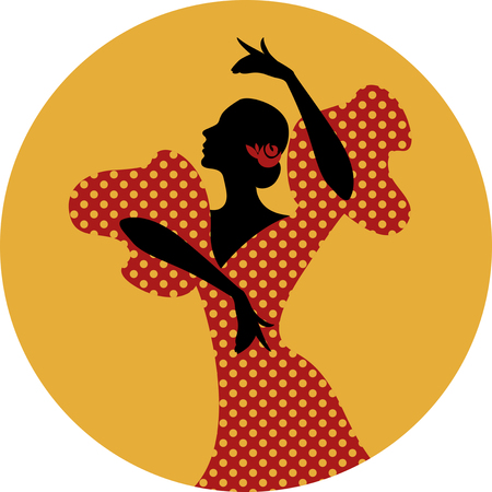 Spanish Flamenco dancer. vector Illustration