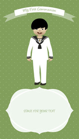 beliefs: Cute boy wearing celebration clothes. My first communion celebration reminder. Vector illustration.