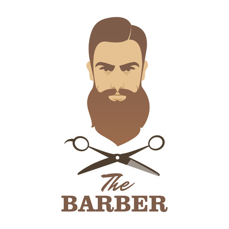 barber scissors: The Barber. Handsome man with beard and mustache. Scissors. Barber shop symbol.