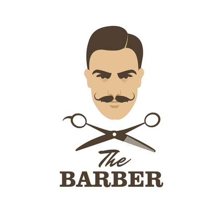 barbershop: The Barber. Handsome man with mustache. Scissors. Barber shop symbol.