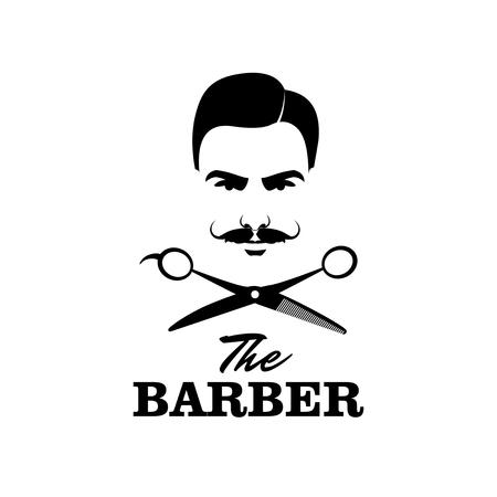 barber scissors: The Barber. Handsome man with mustache. Scissors. Barber shop symbol.