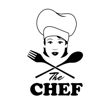 여자 요리사입니다. 나무로되는 숟가락과 포크와 아름 다운 요리입니다. 복고풍 스타일 일러스트