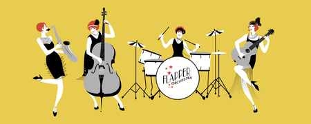 Ladies Jazz Orchestra. Four flapper girls playing music. Vector Illustration