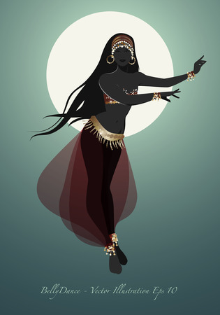 Beautiful belly dancer silhouette under the moon wearing exotic clothes. vector illustration