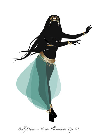 Beautiful belly dancer silhouette wearing exotic clothes. Vector illustration