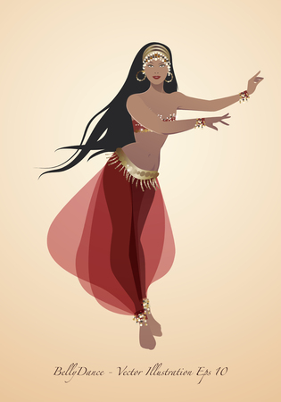 Beautiful belly dancer wearing exotic clothes vector illustration