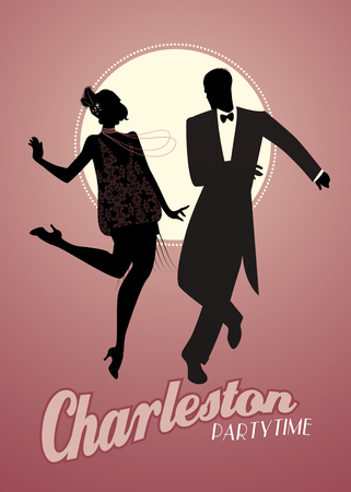 Elegant couple wearing 20s style clothes dancing charleston. Vector Illustration