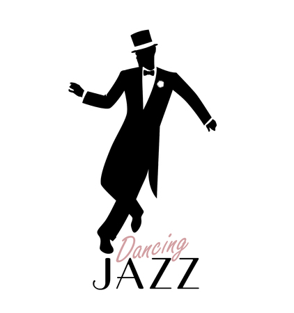Elegant man wearing classic style clothing dancing jazz. Vector Illustration  イラスト・ベクター素材