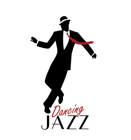 Elegant man wearing classic style clothing dancing jazz. Vector Illustration