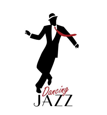 Elegante man draagt klassieke stijl kleding dansende jazz. Vector illustratie Stock Illustratie