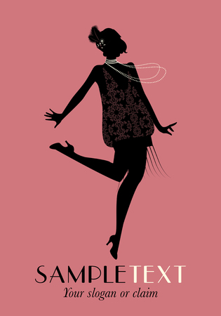 Elegant flapper. Stylish woman wearing 20s style clothing dancing charleston Illustration