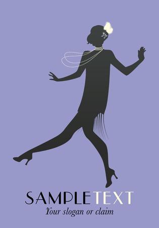 Elegant flapper. Stylish woman wearing 20's style clothing dancing charleston