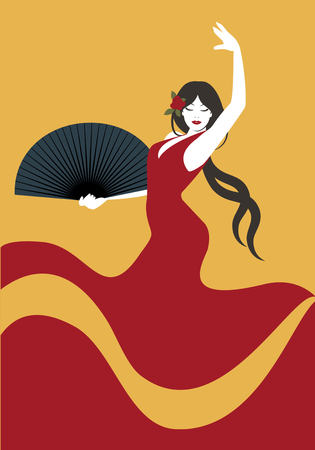 Spanish flamenco dancer. Vector Illustration 免版税图像 - 75146828