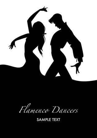 Couple of flamenco dancers. Vector illustration Иллюстрация