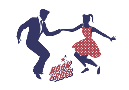 Young couple wearing 50s clothes dancing rock and roll. Vector Illustration Ilustração