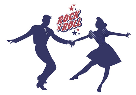 rockabilly: Young couple wearing 50s clothes dancing rock and roll. Vector Illustration Illustration
