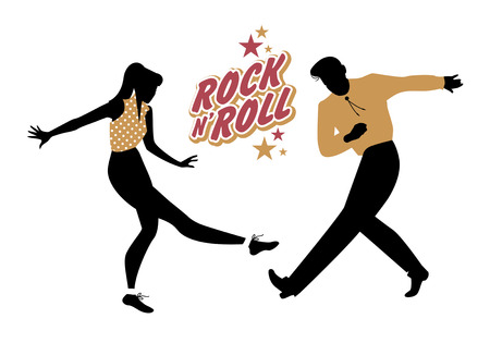 Young couple wearing 50s clothes dancing rock and roll. Vector Illustration Illusztráció