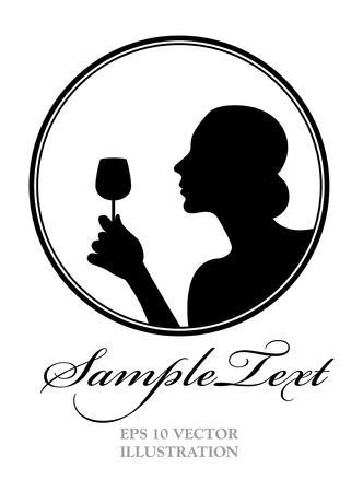 Vrouw silhouet met een glas wijn. Goed voor logo
