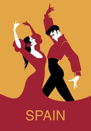 Couple of flamenco dancers. Vector illustration Vettoriali