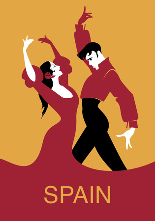 Paar flamenco dansers. Vector illustratie Stock Illustratie