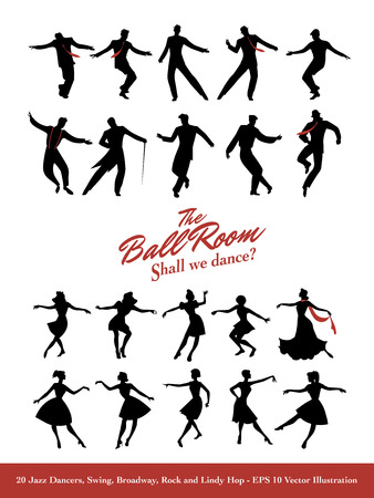 Twenty Jazz Dancers. Swing, Broadway, Rock and Lindy Hop. Иллюстрация