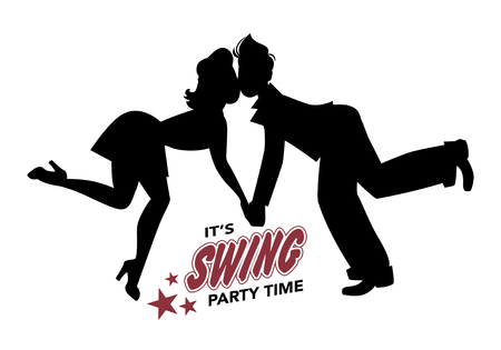 Young couple silhouette swing dancing, lindy hop, rock and roll Illustration