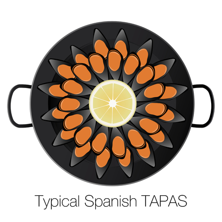 Steamed mussels pot and slice of lemon. Typical Spanish tapa. Vector Illustration