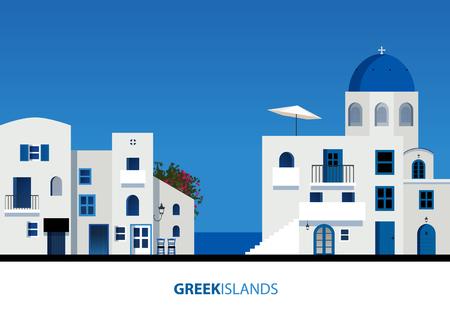 그리스의 섬. 푸른 하늘에 전형적인 그리스 섬 아키텍처의보기. 벡터 일러스트 레이 션 일러스트
