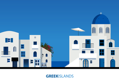 Greek Islands. View of typical greek island architecture on blue sky. Vector Illustration