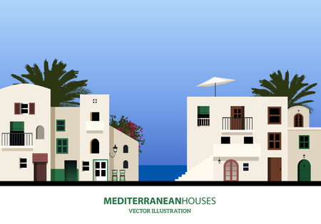 Mediterranean houses, palms and blue sky bakground. vector illustration