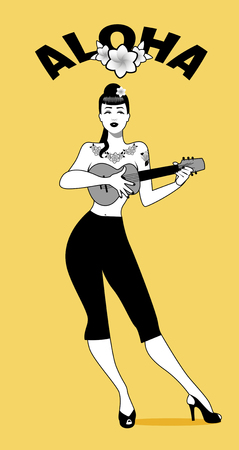 Sexy and tattooed pin-up girl playing ukelele. Vector Illustration.