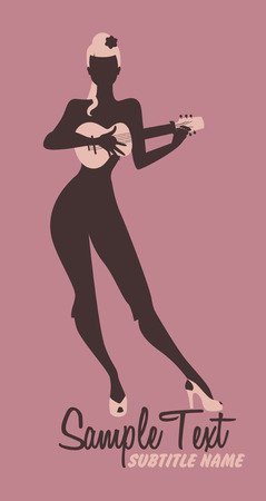 Sexy pin-up girl silhouette playing ukelele. Vector Illustration.