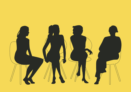 Group of four women sitting together talking together. Silhouettes vector illustration. Vettoriali