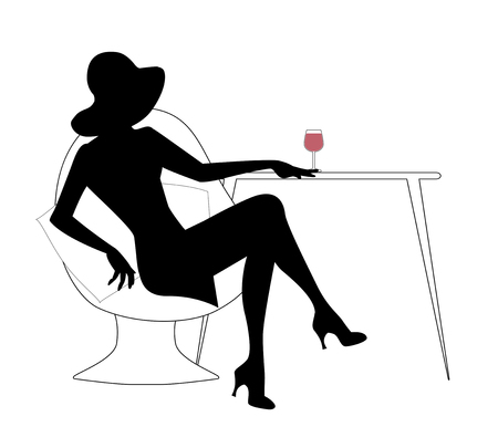 Silhouette of woman with hat drinking white wine Stock Illustratie